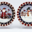 Christmas Plate Set With Display Stands Set Of 2