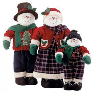 Fabric Snowman Family Plush Christmas Set Of 3