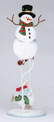 Swinging Snowman Skater Rocking Motion Figurine