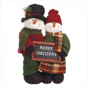 Plush Standing Snowman Couple Soft Sculpture Christmas