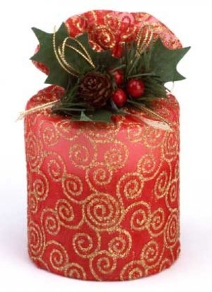 Medium Pillar Christmas Candle Two Tone Red