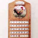 Wooden Calendar And Clock With Rooster