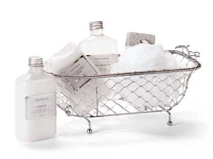 Gift Set In Wire Bath Tub Gel Lotion Pumice More
