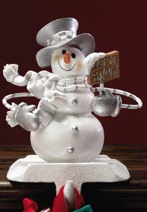 Let It Snow Snowman Stocking Hanger