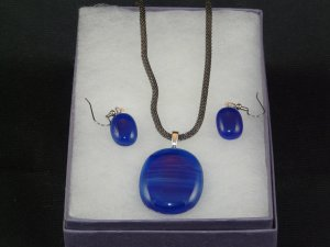 Ocean Blue Glass Pendant w/chain