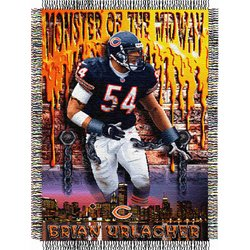 Brian Urlacher #54 Chicago Bears NFL Woven Tapestry Throw Blanket by Northwest  MSRP $40.00