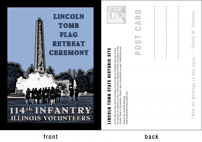 Postcard - Lincoln Tomb Flag Retreat Ceremony