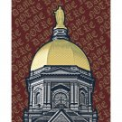 "16"" x 20"" - Notre Dame Dome with Red Background"