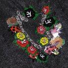 Lady Bugs and Roses charm bracelet handmade ooak