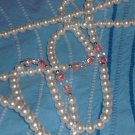 "Vintage 200 pearls rope necklace 72"" long hand crafted pink/ white crystals one of a kind piece"