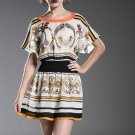 NEW WOMEN LADY COCKTAIL EVENING SUMMER White and Orange short-sleeve dress S