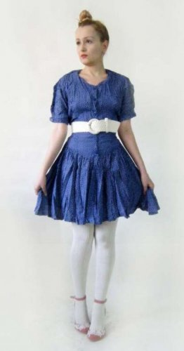 vintage 50s 80s 90s blue summer dress full circle S M