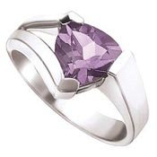 Purple Sterling Silver CZ Ring Size 8