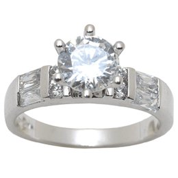 Brilliant Round Cut Sterling Silver White CZ Ring Size 7