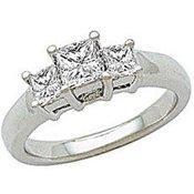 ELegant Square Cut Sterling Silver White CZ Ring Size 7