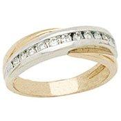 2 Tone Rhodium/Gold Cross Ring With White CZ Diamond   Size 8