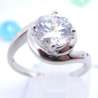 Round Cut White CZ Diamond Ring Size 8