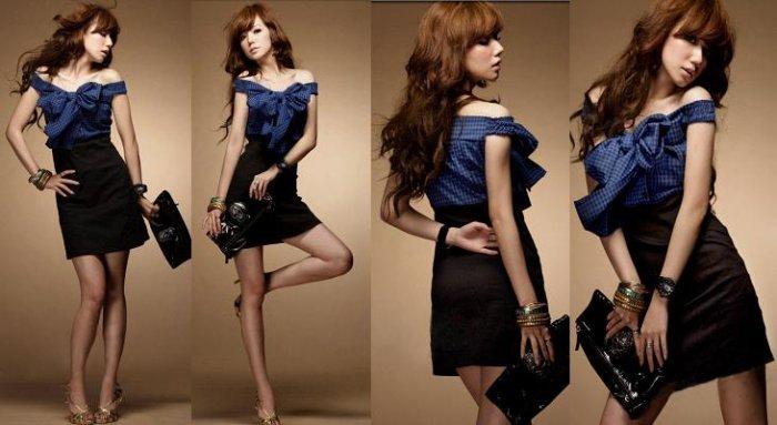 Wide Shoulder Checks + Cotton High Waist Dress - Blue