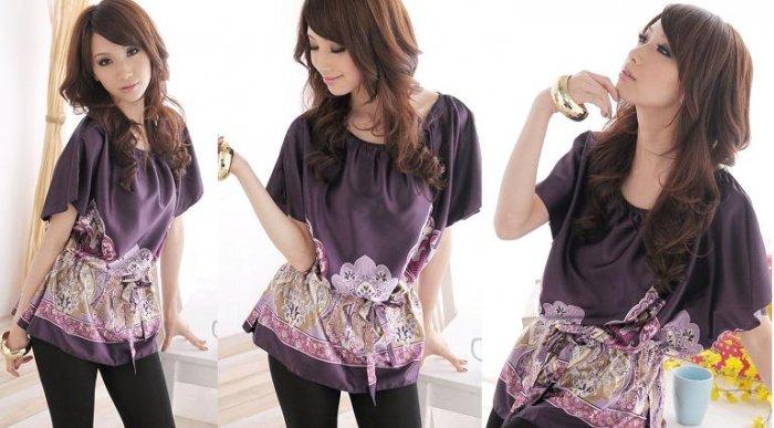 Indian Print Silky Top w/ Adjustable Waist- Purple