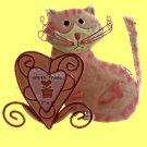 Hand Painted Sweetheart Cat Photo Frame Holds 3 x 3 Picture