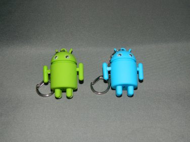 Blue And Green Android Key Chains With Flashing Eyes And Sound Effects