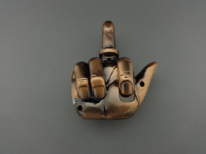 Bronze Talking Middle Finger Jet Torch Lighter Says Fuck You When Lit
