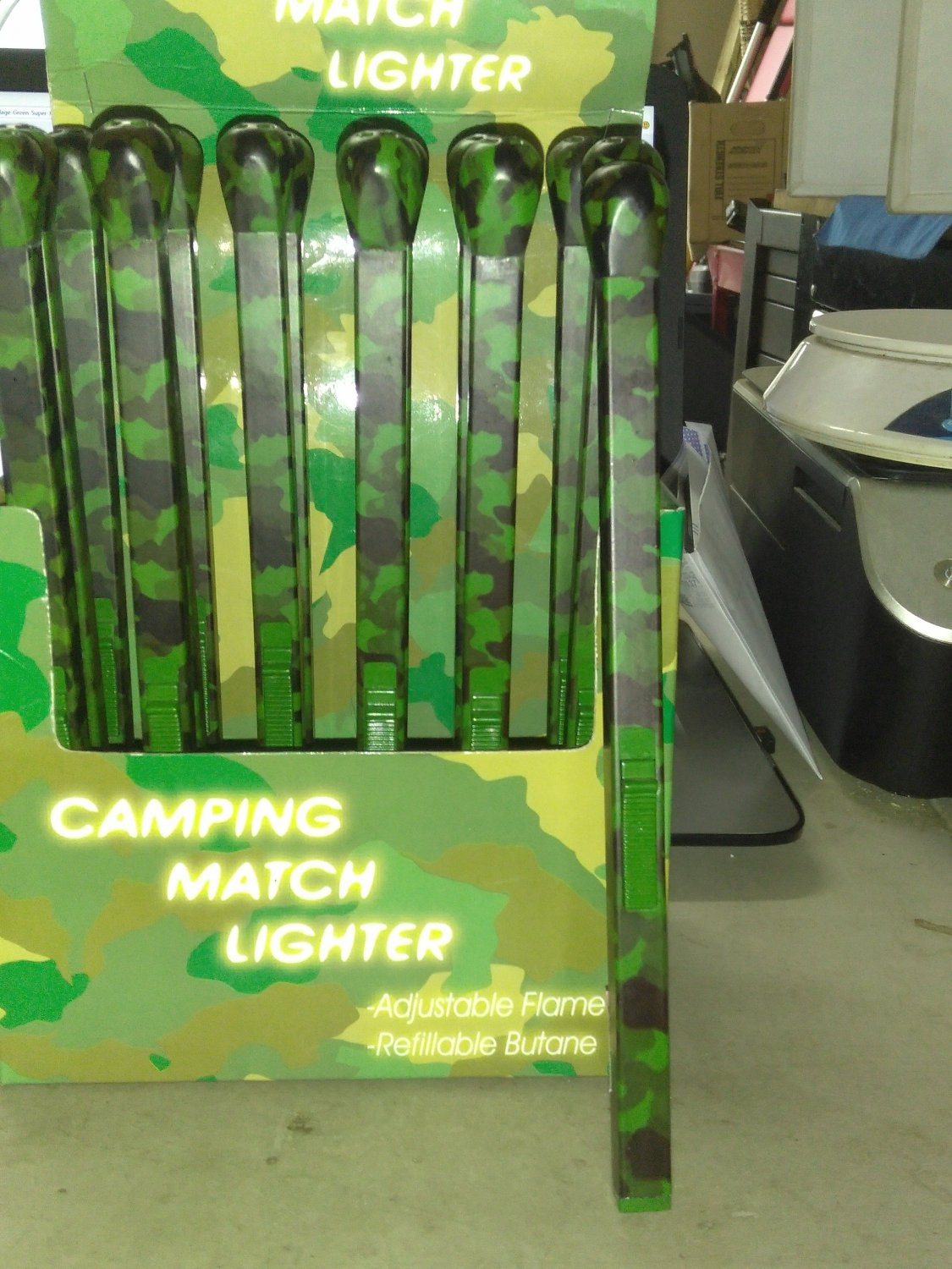 "Camouflage Green Super Jumbo 9"" Matchstick Shaped Butane Lighter Camo Matchstick"