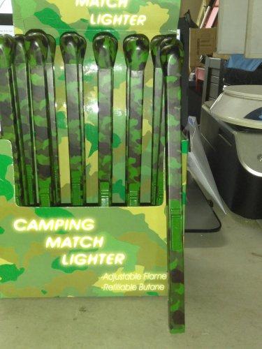 """Camouflage Green Super Jumbo 9"""" Matchstick Shaped Butane Lighter Camo Matchstick"""