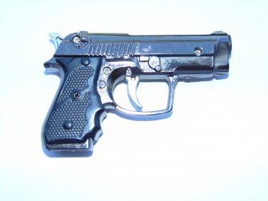Sleek Gun Pistol Shaped Jet Torch Lighter With White LED Light