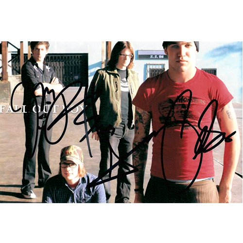FALL OUT BOY GROUP SIGNED 4X6 PHOTO + COA
