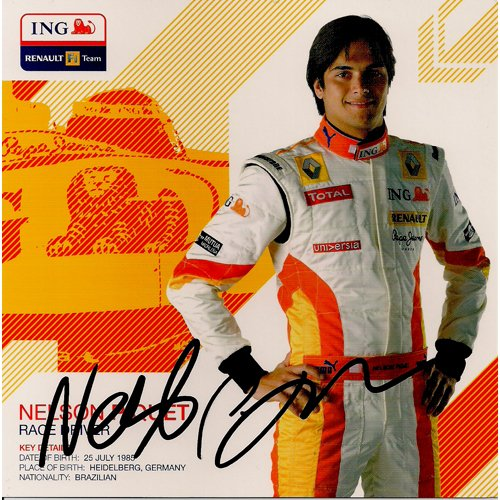 NELSON PIQUET SIGNED 8x10 PHOTO + COA