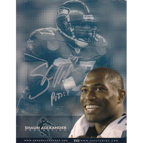 Seattle Seahawks SHAUN ALEXANDER SIGNED 8x11 PHOTO + COA