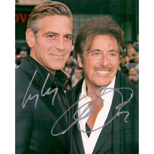 AL PACINO & GEORGE CLOONEY SIGNED 8x10 PHOTO + COA
