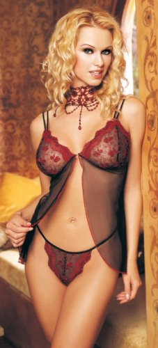 2 Pc. Mesh Embroidered Babydoll With G-String