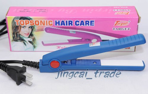 Compact Straightener Mini Hair Iron Portable Blue New!