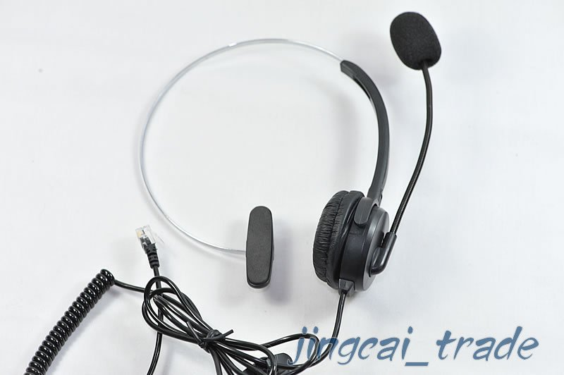 Telephone Monaural Headset Communication Mic 4-Pins crystal head Black