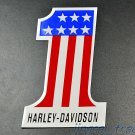 Harley Davidson ONE #1 FLAG Motorcycle Aluminium 3D Emblem Badge Sticker Decal