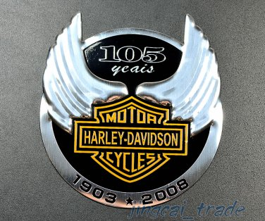 Harley Davidson 105 Anniversary Motorcycle Aluminium Emblem Badge Sticker Decal