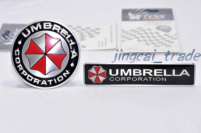 2 pcs Umbrella Corporation Aluminium Decal Badge Emblem Universal for Car Auto