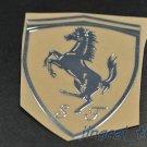 Polished Chrome Silver Shield Ferrari SJ Logo Emblem Sticker Decal for Car Auto