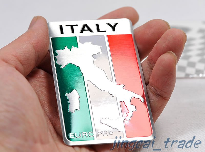 Italy Map Flag Aluminium Decal Badge Emblem Sticker Universal for Auto Car SUV
