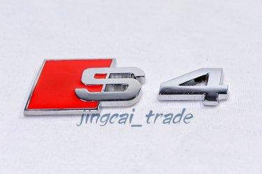 S4 Logo 3D Car Auto Emblem Badge Sticker Decal Chromed Metal OEM For Audi S-4