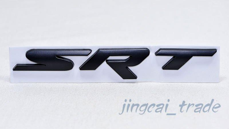 Thick! Black SRT Logo 3D Metal Car Body Fender Emblem Badge Decal Sticker For JEEP Chrysler Dodge