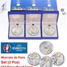 """Set (3 pcs) France 10 euro Proof Coin 2016 """"Football UEFA Cup"""" Monnaie de Paris"""