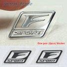 Pair (2 pcs) Polished Chrome F Sport Logo Car Emblem Sticker Decal OEM for Lexus