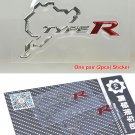 Pair (2 pcs) Polished Chrome Nurburgring Type R Logo Car Emblem Sticker Decal