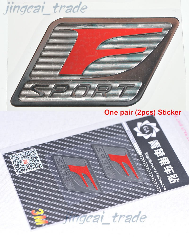 Pair (2 pcs) Polished Chrome Red F Sport Logo Car Emblem Sticker Decal for Lexus