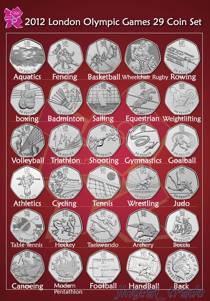 Royal Mint 2012 London Olympic Games 50p 29 Coin Set with Album NEW Uncirculated