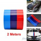 3-Color Stripe Auto Car Hood Modifield Body Vinyl Emblem Sticker Decal For BMW M