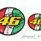 2pcs VALENTINO ROSSI 46 Italy Flag AGV Sun and moon flower MOTO GP Sticker Decal